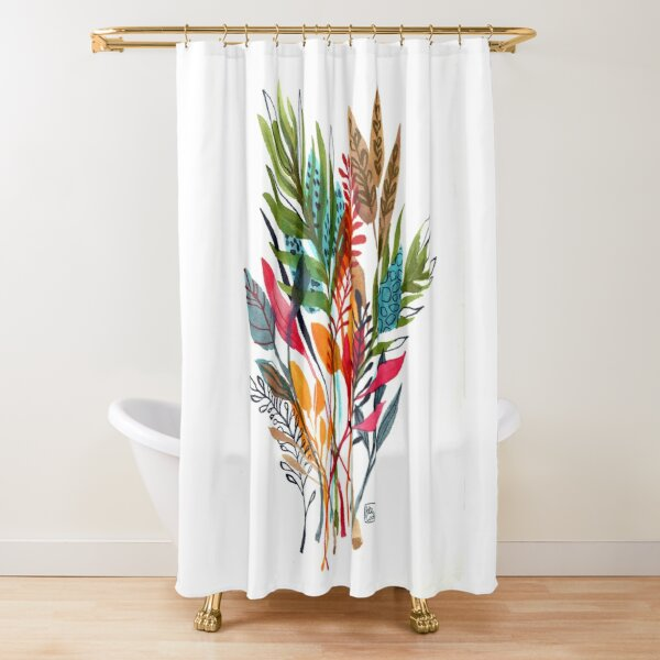 watercolor leaves and sprigs Shower Curtain