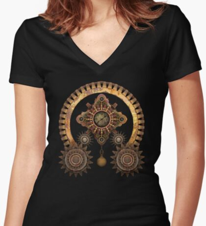Vintage Steampunk Machine Thing Women's Fitted V-Neck T-Shirt
