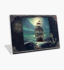 Ghost Pirate Ship at Night Laptop Skin