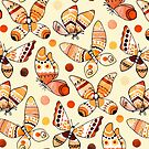 Earth Toned Watercolor Butterflies  by TigaTiga