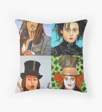 Johnny Depp collage Throw Pillow