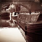 vintage canal boats by Michelle McMahon