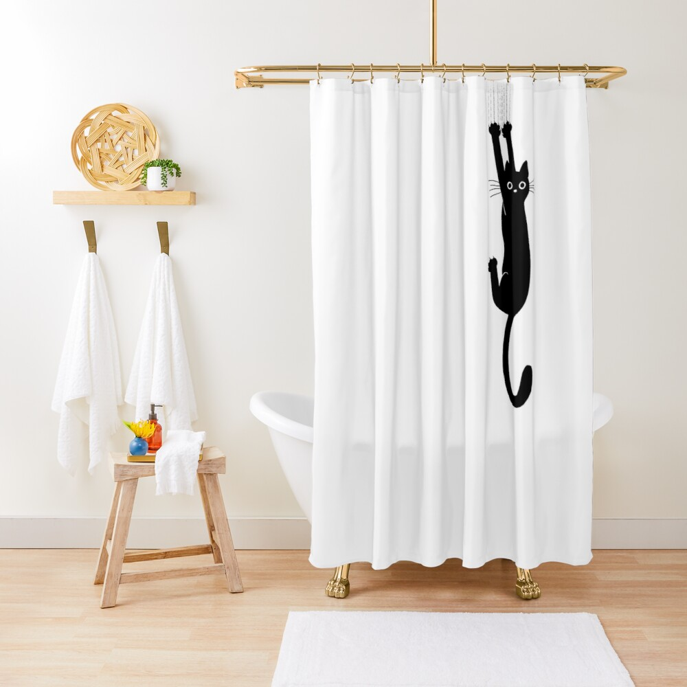 Black Cat Holding On Shower Curtain