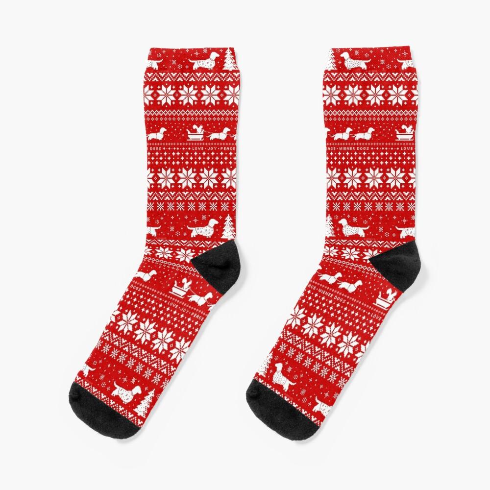 Dachshunds Christmas Sweater Pattern Socks
