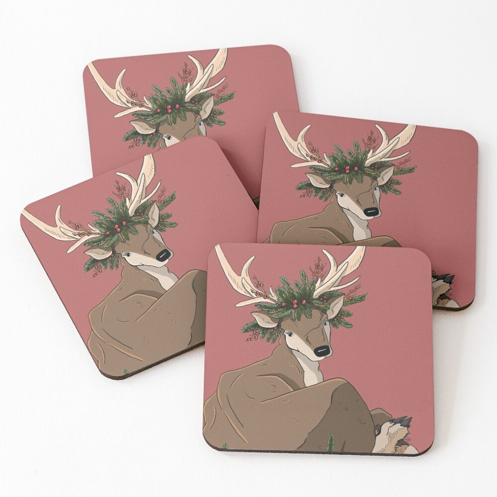 Antlers & Holly Coasters (Set of 4)