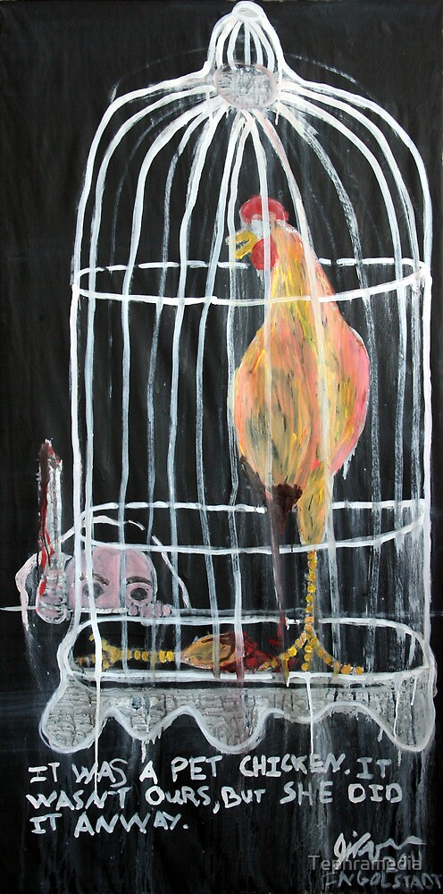 Sister with Knife and Chicken, 2011, Arcylic on Paper, Justin Curfman by Tephramedia
