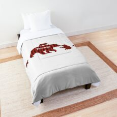Mommy bear four cubs red plaid Buffalo Comforter