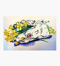 Daffodils & Paper - illustration Photographic Print