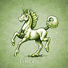 August Birthstone Unicorn: Peridot Gemstone Fantasy Artwork by Stephanie Smith