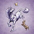 October Birthstone Unicorn: Opal Gemstone Fantasy Artwork by Stephanie Smith
