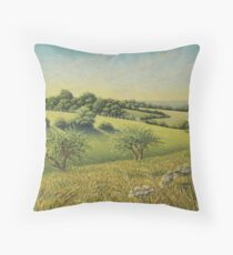 Early Evening Sun, Epsom Downs, Surrey Throw Pillow