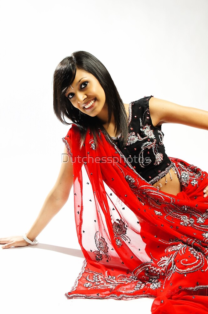 Indian girl in red sari by Dutchessphotos