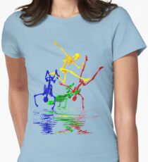 Skeletons break-dancing Womens Fitted T-Shirt