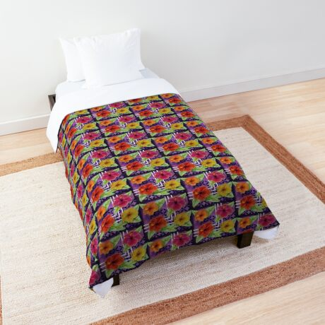 Hibiscus in Denim Comforter