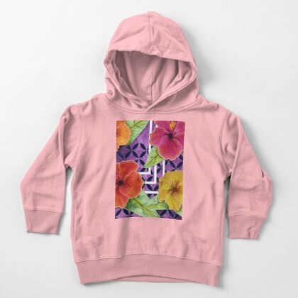 Hibiscus in Denim Toddler Pullover Hoodie