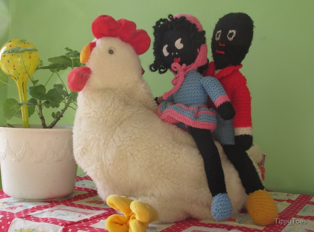 Gollies riding a Chicken by TippyToes