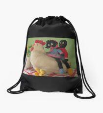 Gollies riding a Chicken Drawstring Bag