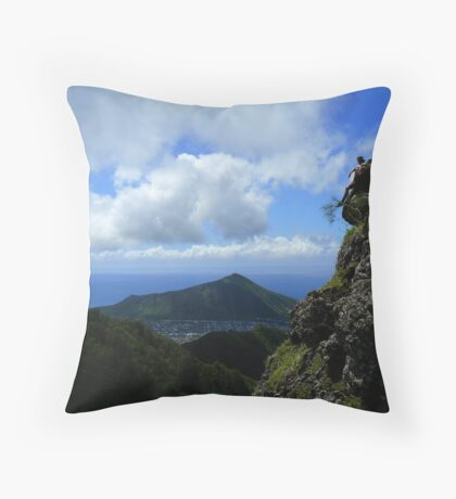Sitting on the Cliff Throw Pillow