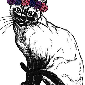 Flower Crown Cat by dinoglitter