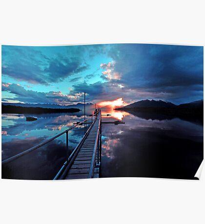 Lake Te Anau at sunset. South Island, New Zealand. (8) Poster