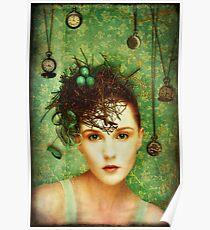 Girl With Bird's Nest Poster
