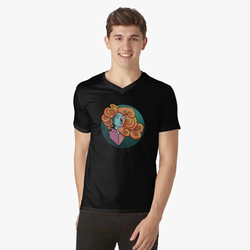 Curly Dream Girl Illustration V-Neck T-Shirt