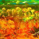 The richness of the Australian landscape (silk paint, raw silk and gutta on silk) by Margaret Morgan (Watkins)