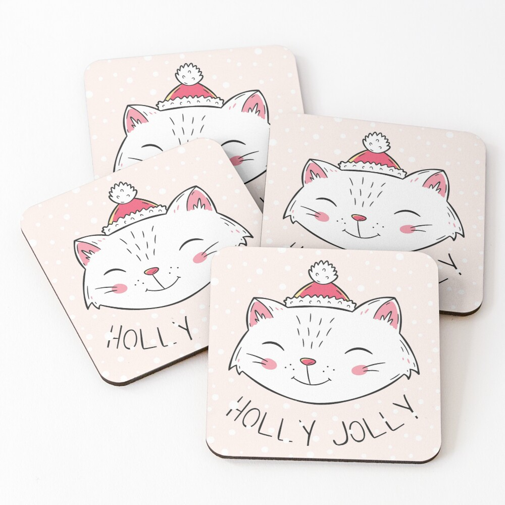 Christmas Kitten Coasters (Set of 4)