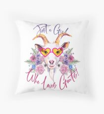 Just a Girl Who Loves Goats  Throw Pillow