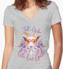 Just a Girl Who Loves Goats  Fitted V-Neck T-Shirt