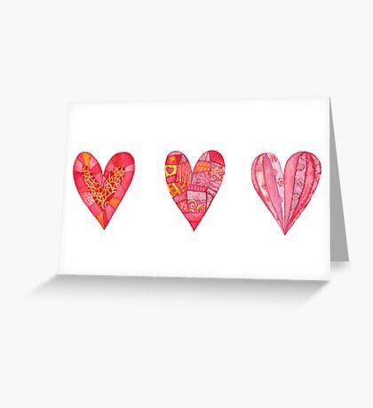 Hearts ,watercolor Greeting Card