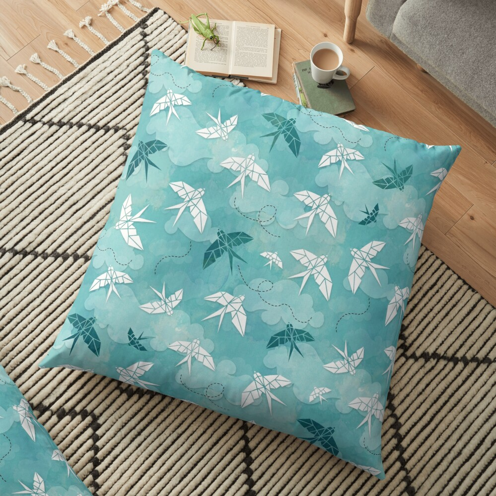 Origami Swallow in turquoise Floor Pillow