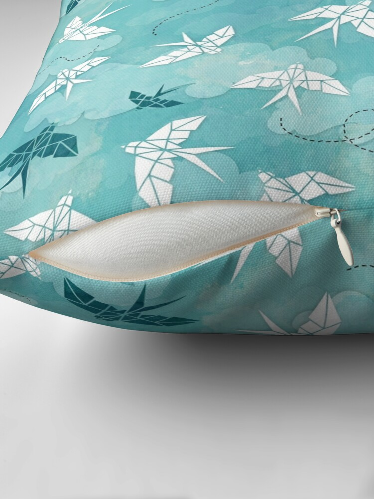 Alternate view of Origami Swallow in turquoise Floor Pillow