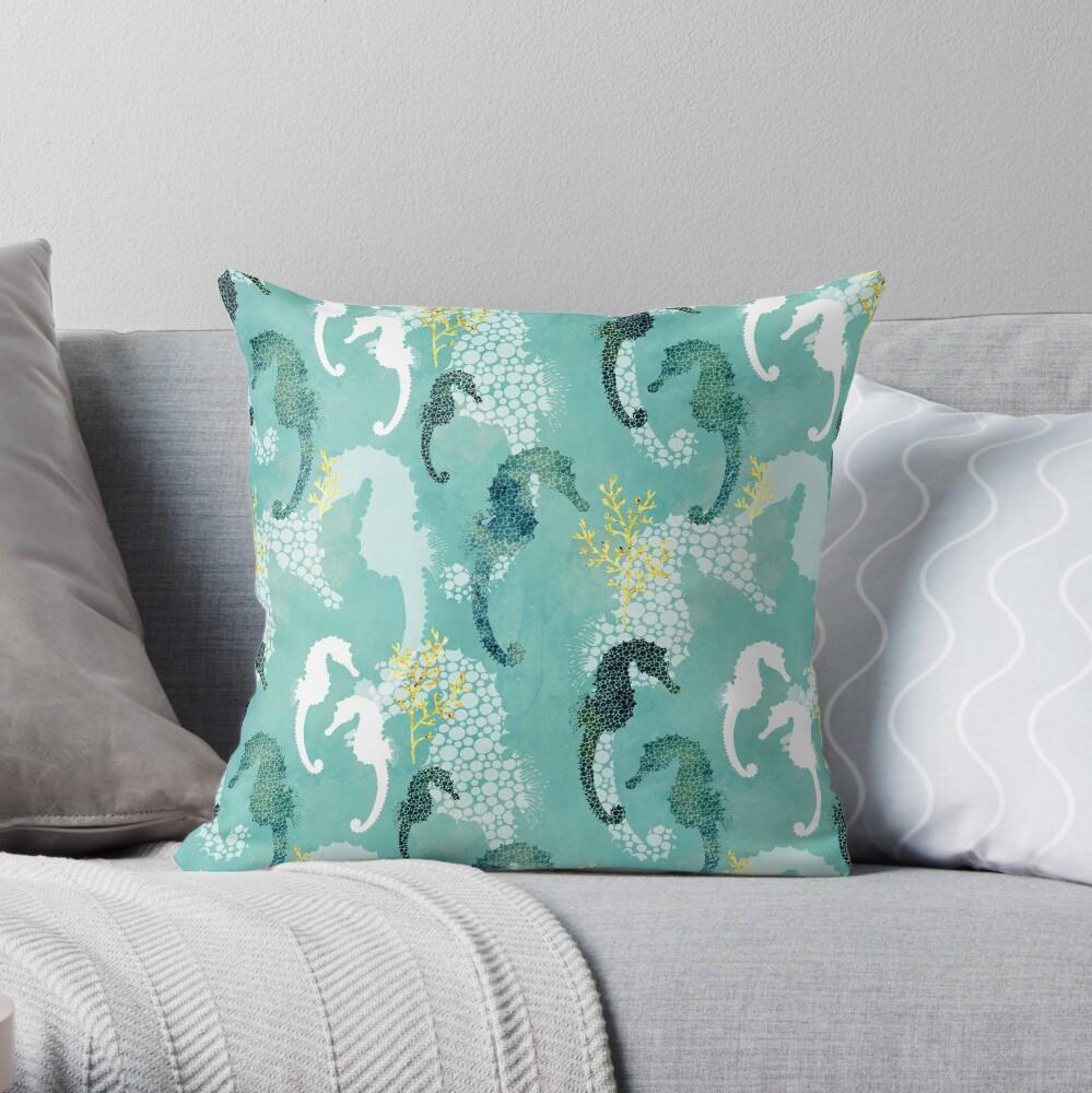 Seahorse dots on turquoise Throw Pillow