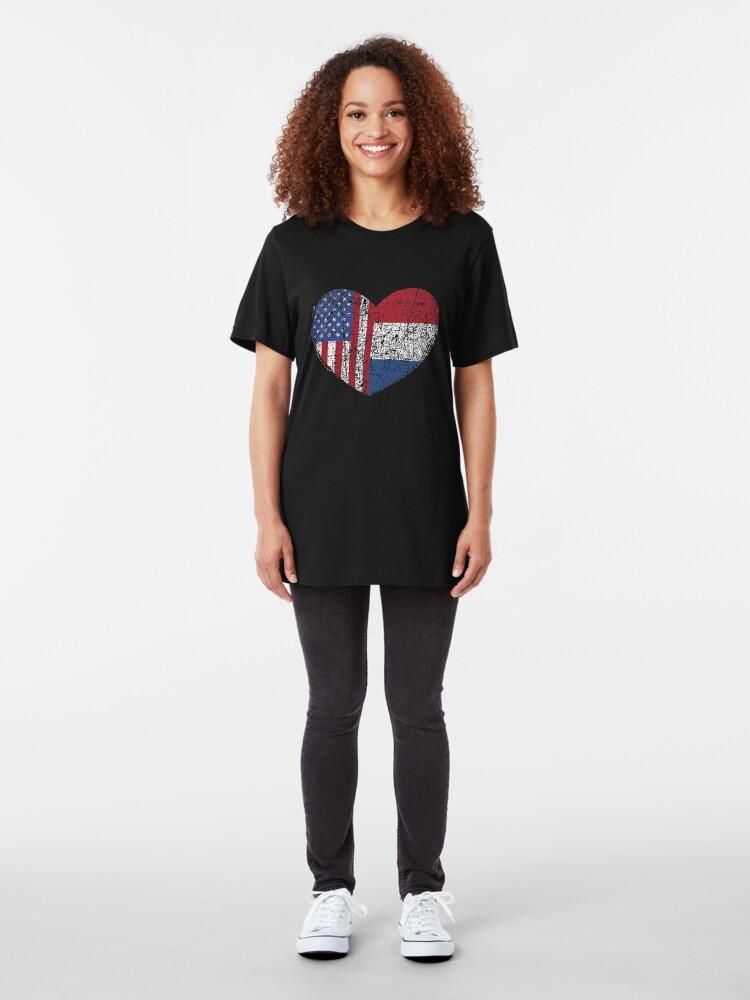 Alternative Ansicht von USA Netherlands Heart - Dual Citizenship Slim Fit T-Shirt