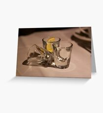 Empty glasses, good times Greeting Card