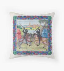Medieval Illumination - Knights Battling  Throw Pillow