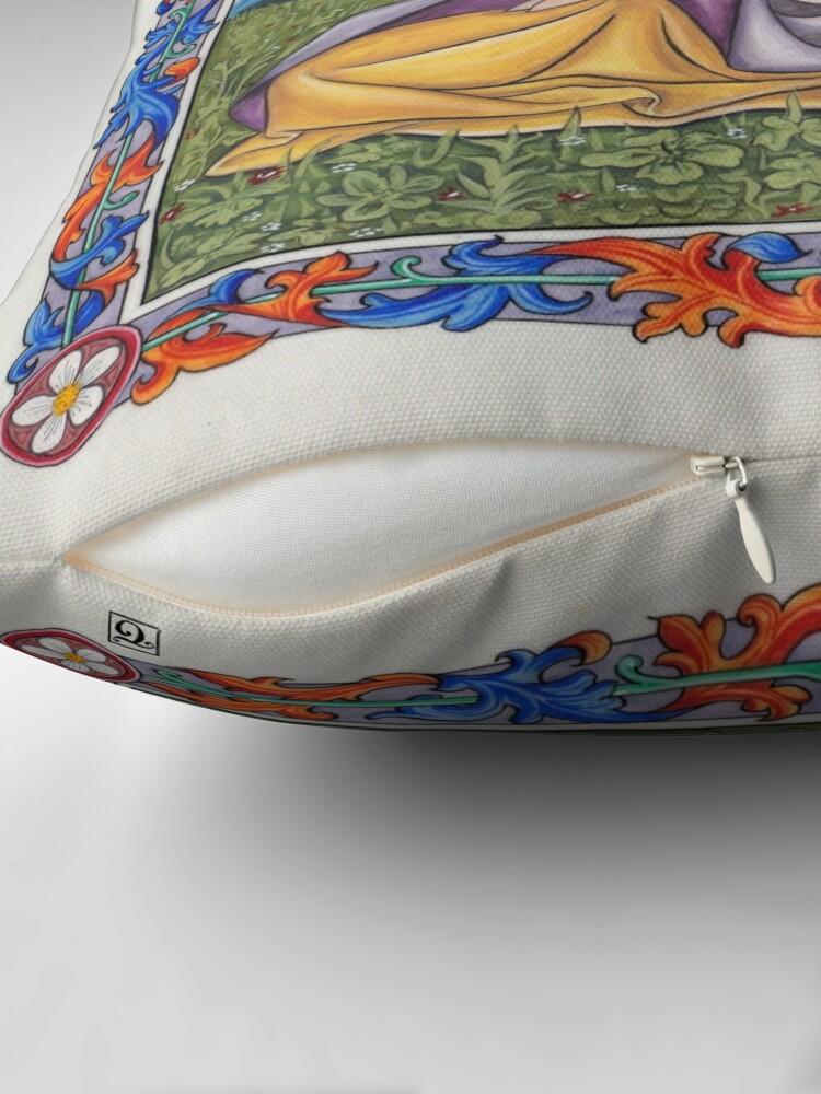Alternate view of Medieval Illumination - Virgin & Unicorn  Throw Pillow