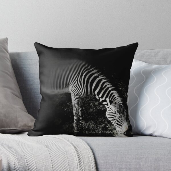 Zebra at Night. Throw Pillow