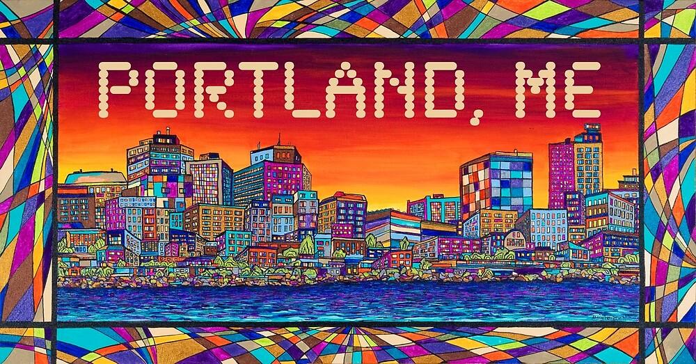 Portland Maine City Skyline by Angela Ferrari by ByFerrari