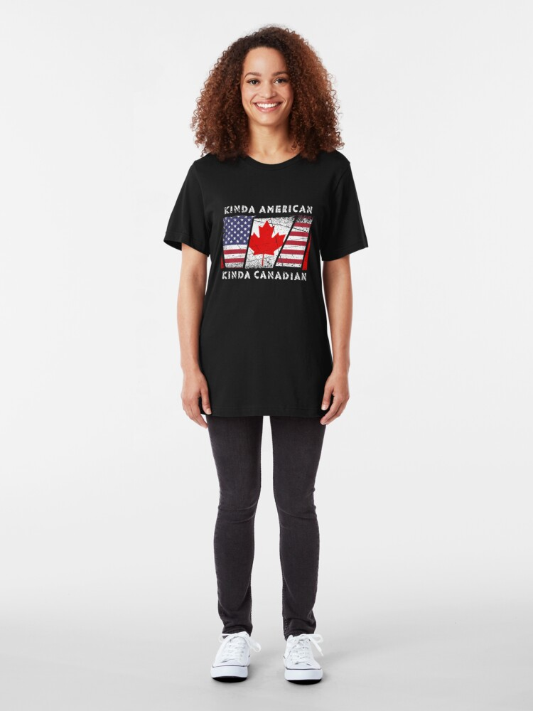 Alternative Ansicht von Kinda American Kinda Canadian - Dual Citizenship Slim Fit T-Shirt