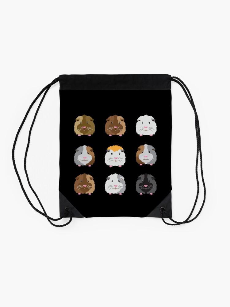 Alternate view of Nine Guinea pigs faces (Super cute!) Drawstring Bag