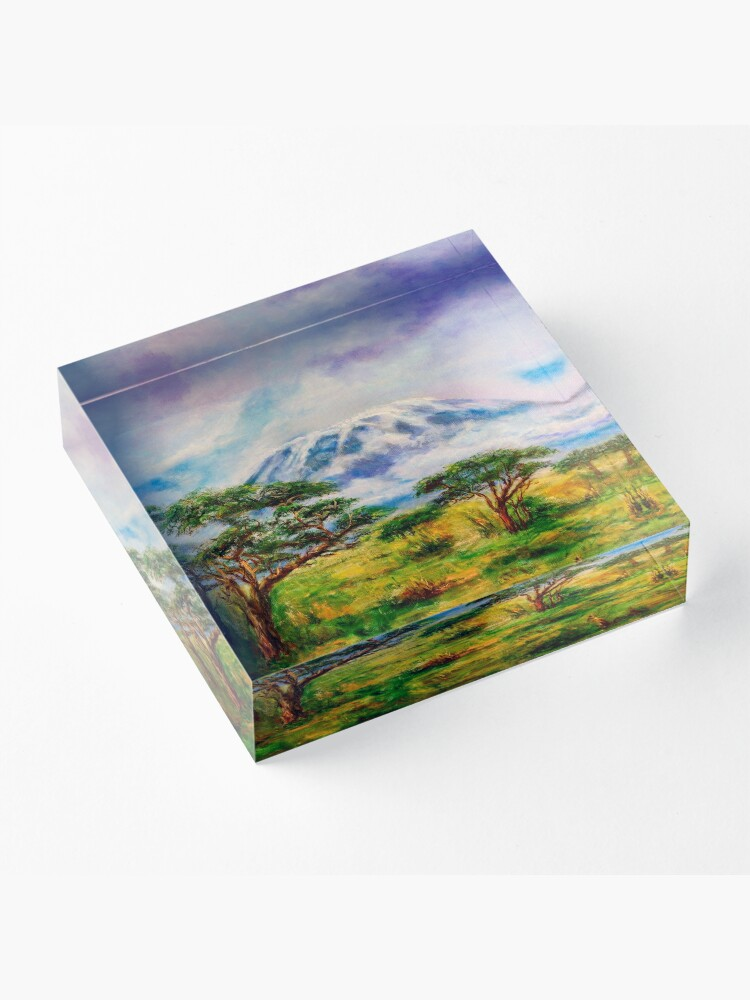 Alternate view of Mount Kilimanjaro Tanzania.  Oil on Canvas Art by Sher Nasser.  Acrylic Block