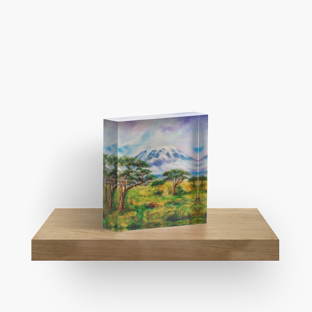 Mount Kilimanjaro Tanzania.  Oil on Canvas Art by Sher Nasser.  Acrylic Block