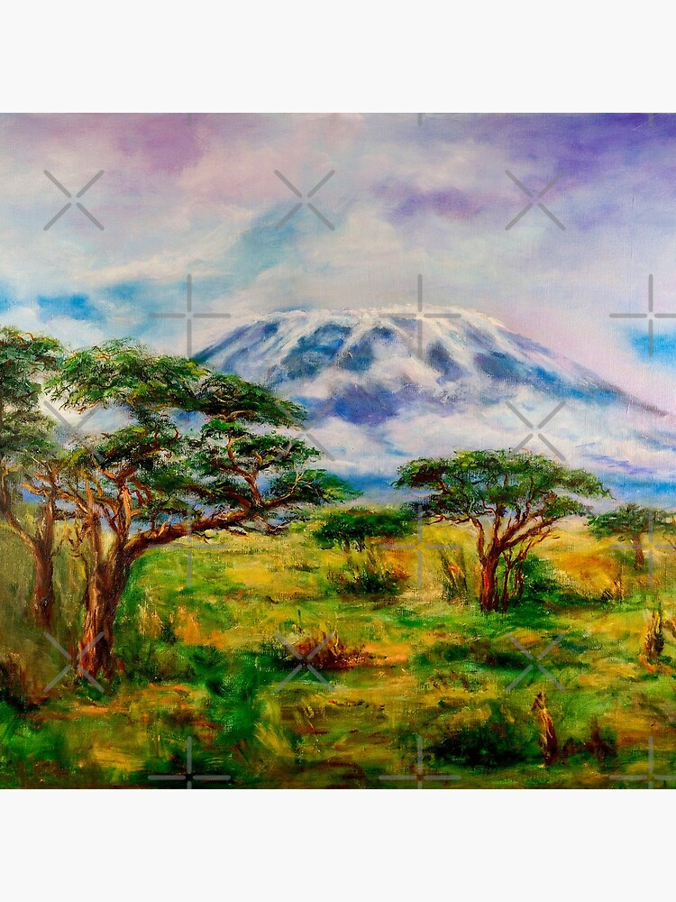 Mount Kilimanjaro Tanzania.  Oil on Canvas Art by Sher Nasser.  by shernasser
