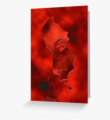 Portraet in red Greeting Card
