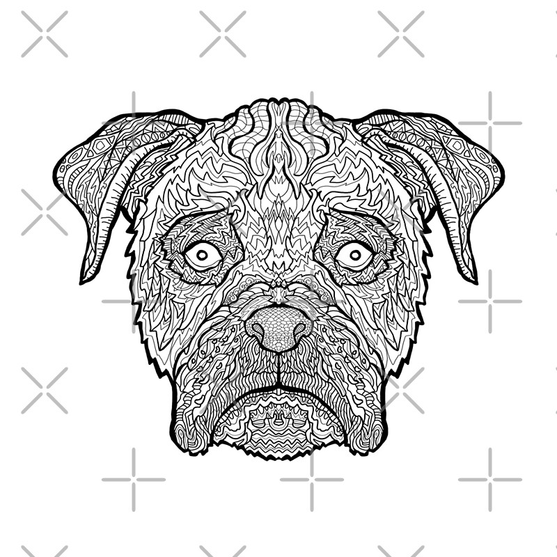 Boxer Dog  Detailed Dogs  Complicated Coloring Scarves by