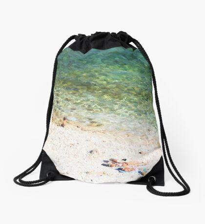 Mediterrainian beach Drawstring Bag