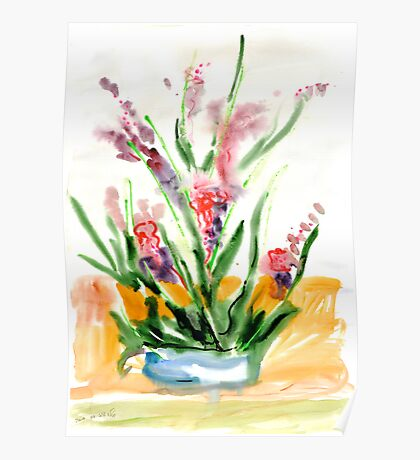 Red flowers in blue pot Poster