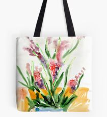 Red flowers in blue pot Tote Bag